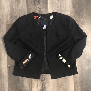J. Crew Cropped Collarless Blazer Jacket Black